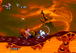 Earthworm Jim about to whip a lawyer with... himself....